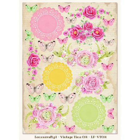 LemonCraft A4 Cut Apart Sheet - House Of Roses Tags