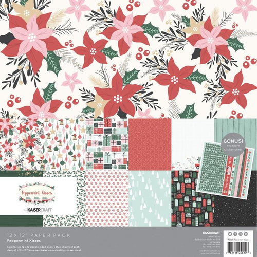 "Kaisercraft Paper Pack 12"" x 12"" - Peppermint Kisses"