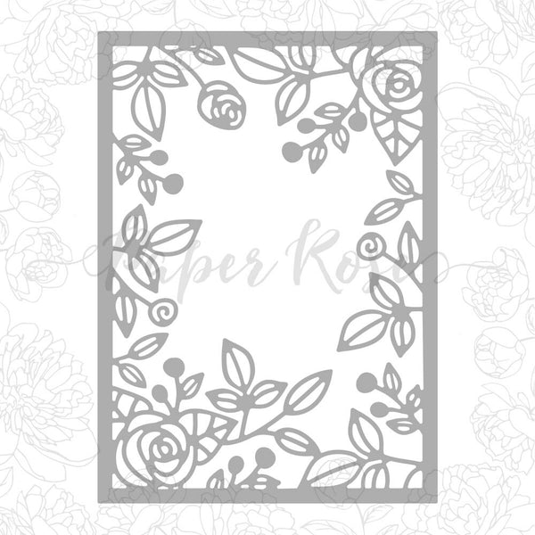 Paper Rose Die - Rose Frame Background