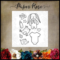 Paper Rose Stamp set -  Baby Doodles