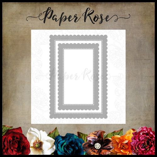 Paper Rose Scalloped Rectangle Frames