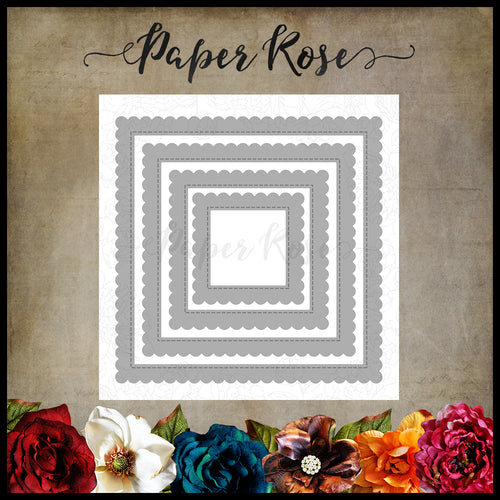 Paper Rose Scalloped Square Frames