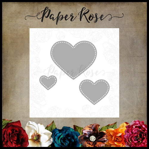 Paper Rose Small Stitched Hearts