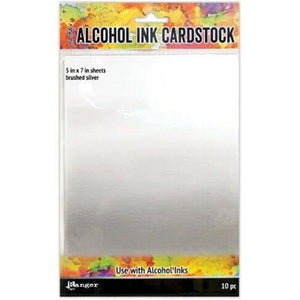 "Tim Holtz  Alcohol Ink Cardstock 5"" x 7"" - Brushed Silver 10pc"