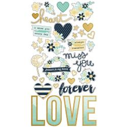 Simple Stories Heart Chipboard Stickers