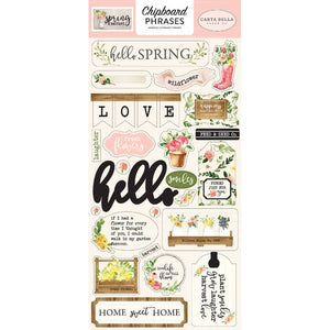 Carta Bella Chipboard Stickers Phrases - Spring Market