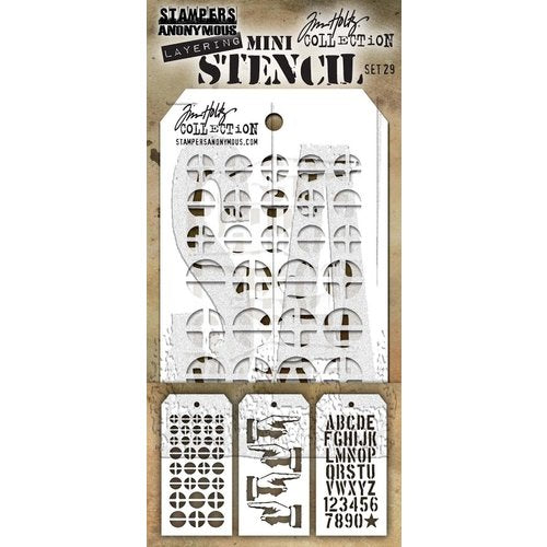 Stampers Anonymous Tim Holtz Mini Collection Stencil - Mini Stencil Set 29