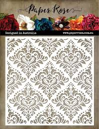"Paper Rose Stencil 6"" x 6"" - Damask"
