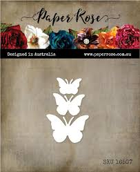 Paper Rose Die set - Butterfly Trio Solid
