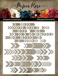 "Paper Rose Stencil 6"" x 6"" - Chevron Arrows"