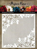 Paper Rose Stencil - Floral Mesh