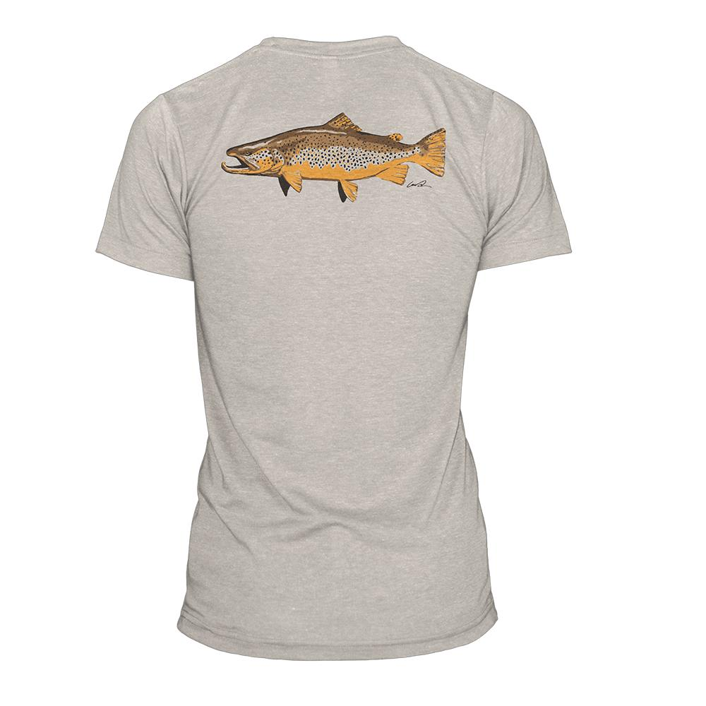 BNAR91 RepYourWater Artist's Reserve Brown Trout T Shirt Heather Dust Back