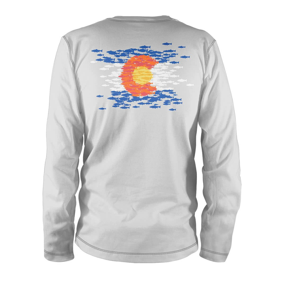 COMS85 RepYourWater Colorado Flag Fish Mosaic Performance Long Sleeve Tee Ultra Light Sun Shirt Light Gray Back