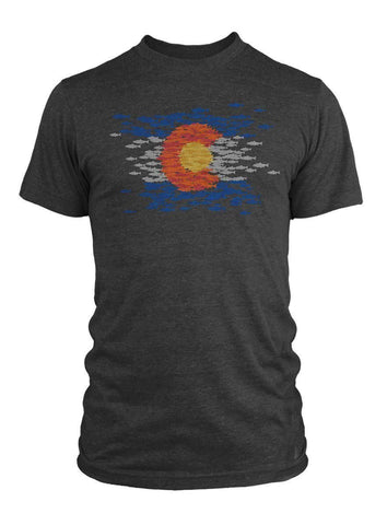 COMS91 RepYourWater Colorado Mosaic SS T Shirt Charcoal Front