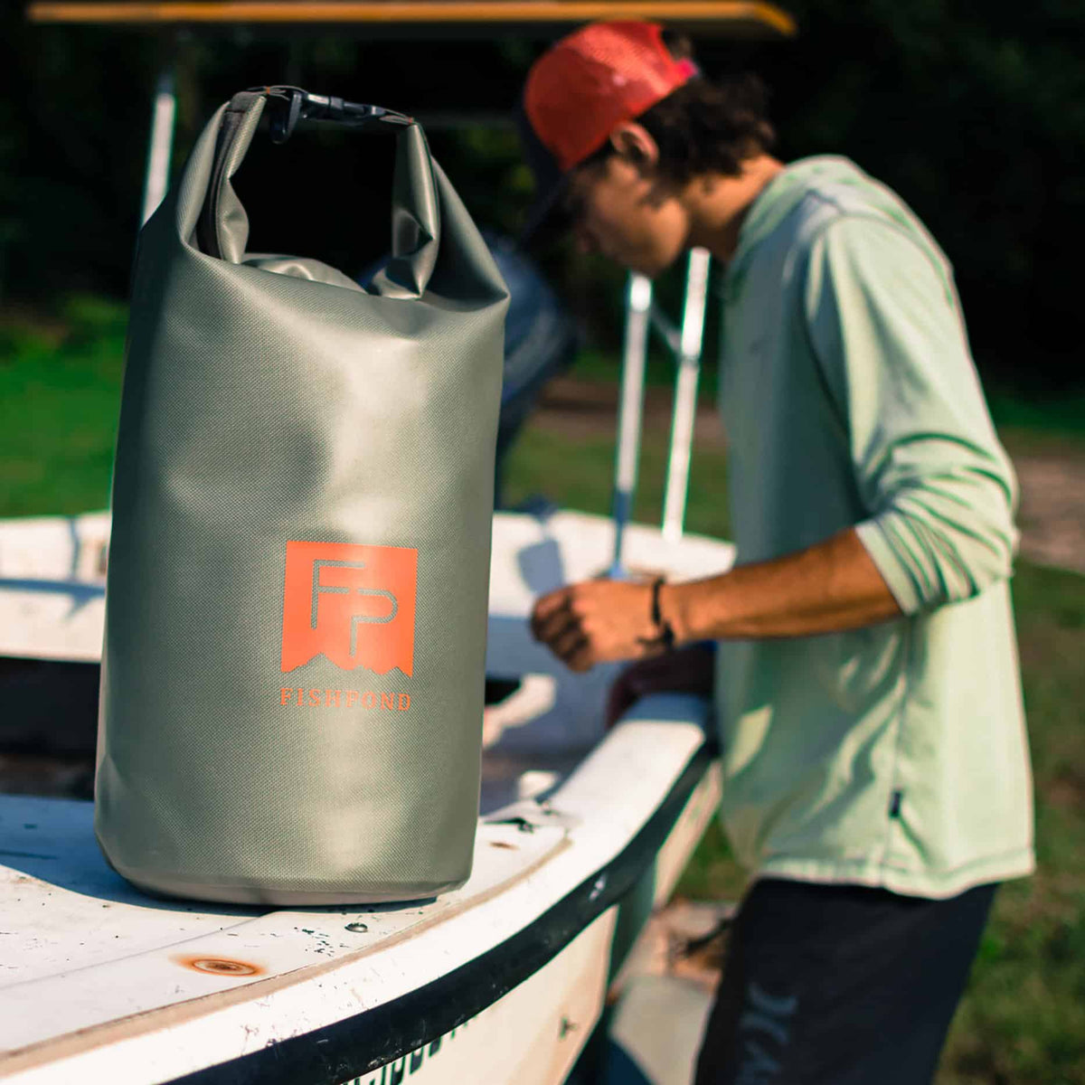 Fishpond Thunderhead Roll Top Dry Bag Shale On Skiff With Person