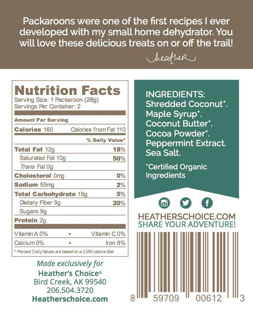 Heather's Choice Mint Chocolate Packaroons Package Back
