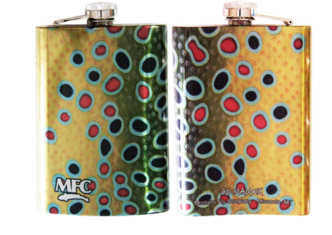 MFC Stainless Steel Hip Flask Maddox's Brown Trout XI Skin