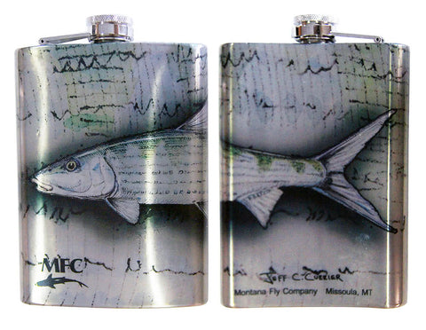 Montana Fly Company MFC Stainless Steel Hip Flask Currier Bonefish