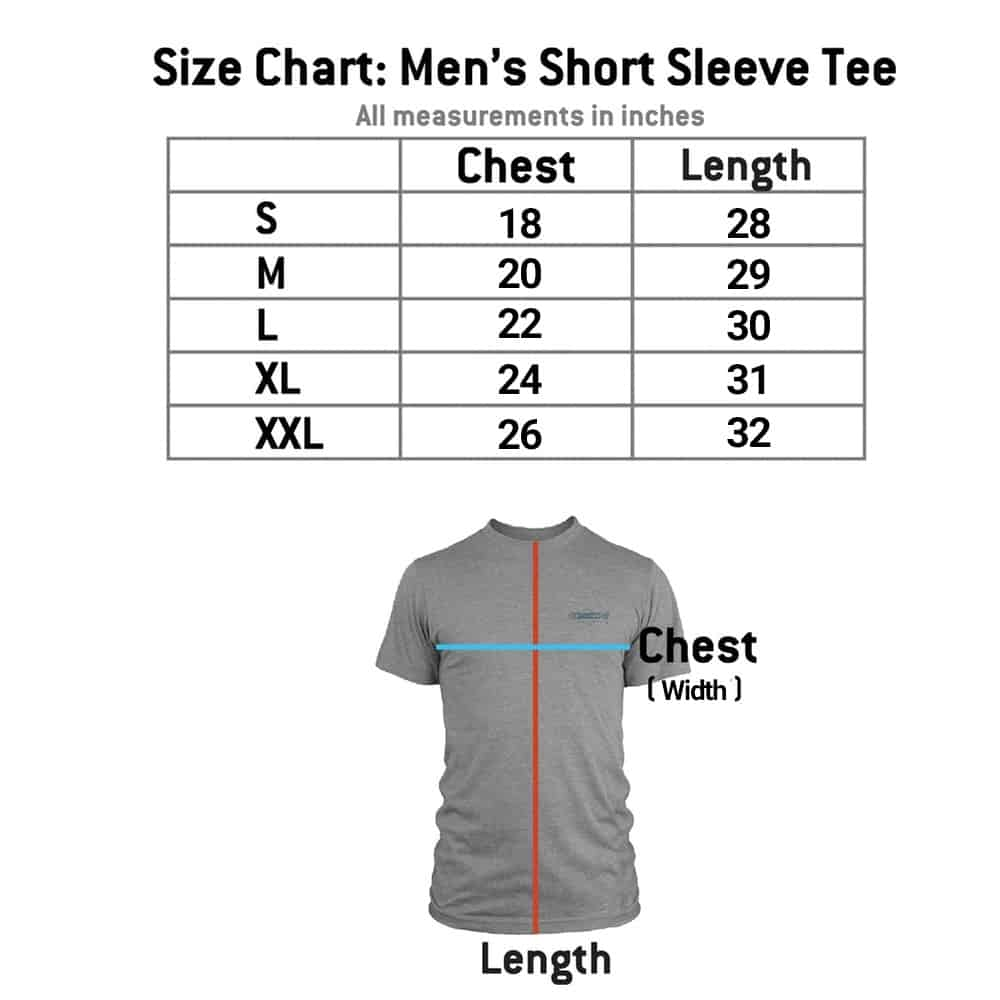 RYW Men's T-Shirt Size Chart Image