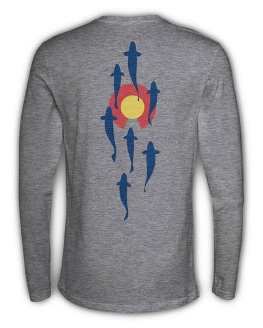 RepYourWater Colorado Stream Long Sleeved T Shirt Gray Back CORV95