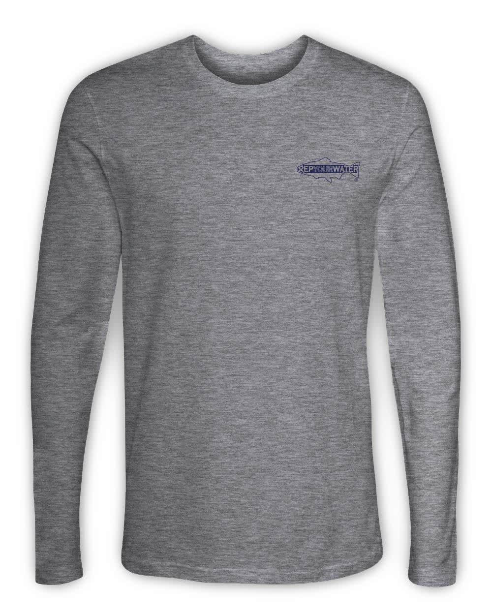RepYourWater Colorado Stream Long Sleeved T Shirt Gray Front CORV95