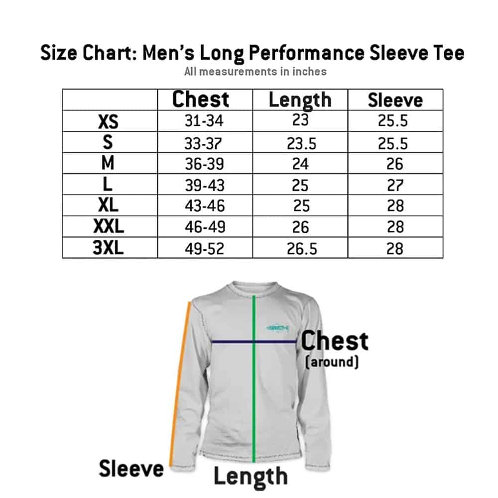 RepYourWater Size Chart Mens Long Sleeve Ultralight Performance Tee