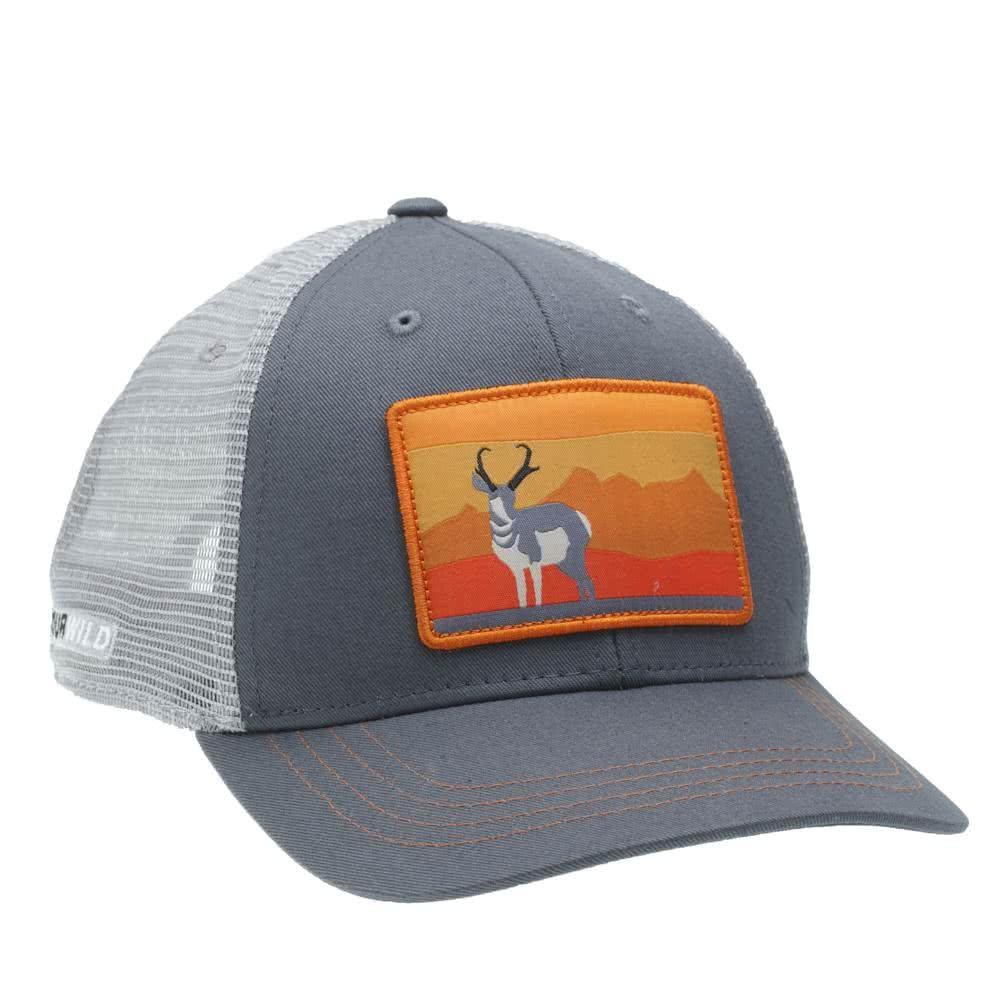 RepYourWild Speed Goat Hat features a pronghorn antelope with mountains in the distance