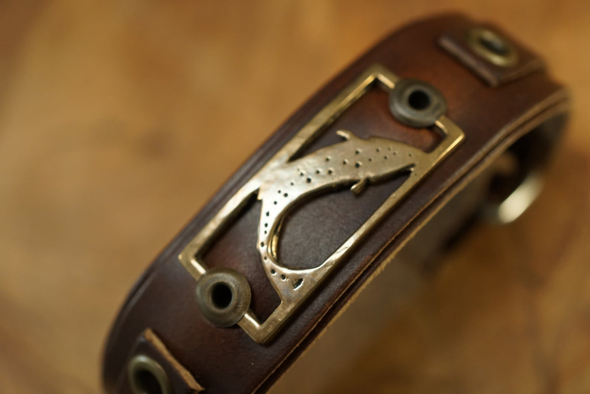 Sight Line Provisions Lost Cast Collection Trout Stargazer Leather Bracelet Closeup