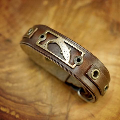 Sight Line Provisions Lost Cast Collection Trout Stargazer Leather Bracelet