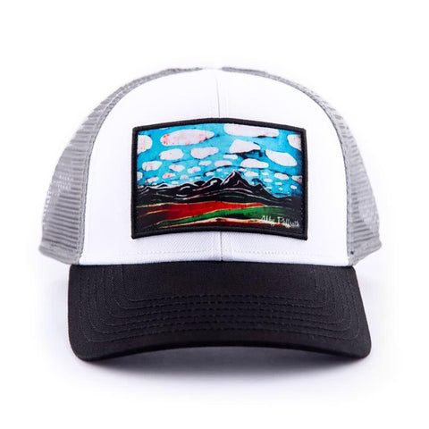 art4all by Abby Paffrath Teton Skies Batik Sky Low Profile Trucker Hat Front