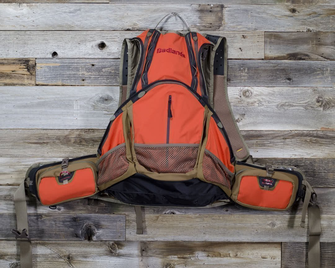 badlands packs upland game vest back on table