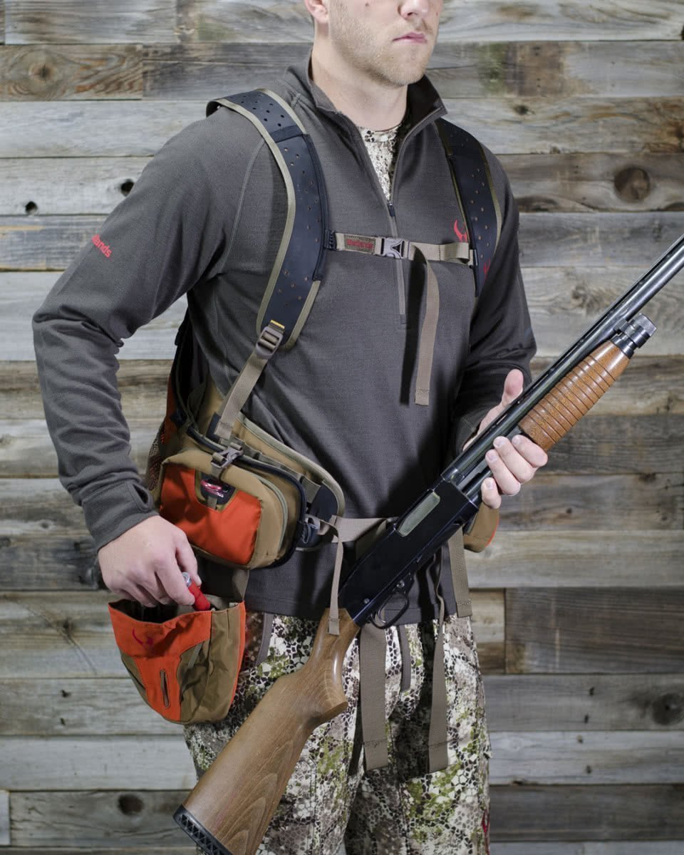 badlands packs upland game vest on model front