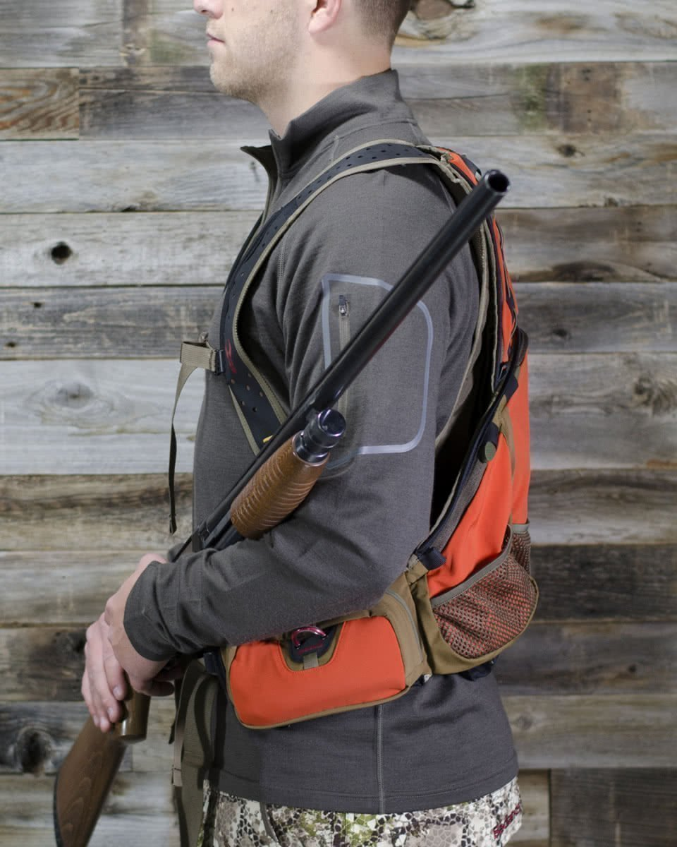 badlands packs upland game vest on model side