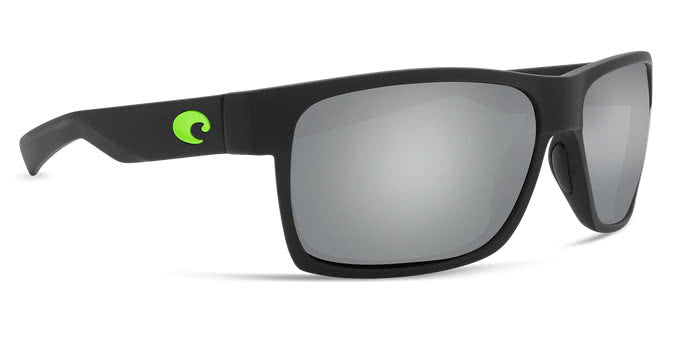 costa half moon matt black green logo gray silver mirror lens