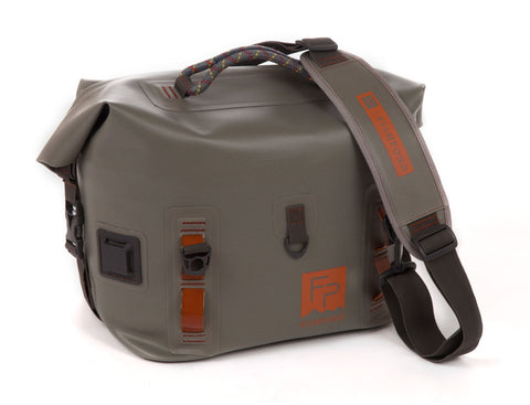 fishpond castaway roll top gear bag shale front strap