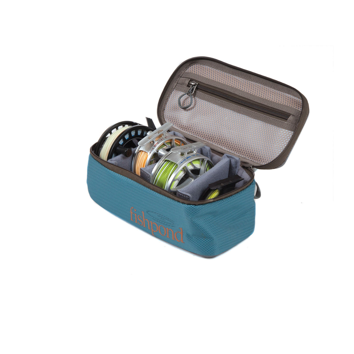 fishpond ripple reel case medium  tidal blue open