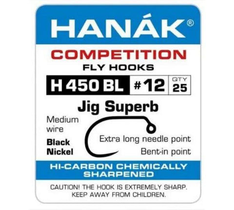 hanak 450bl jig superb barbless fly tying hook