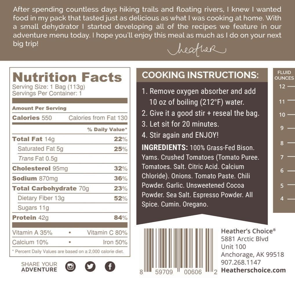 heather's choice dark chocolate chili dinner meal back label