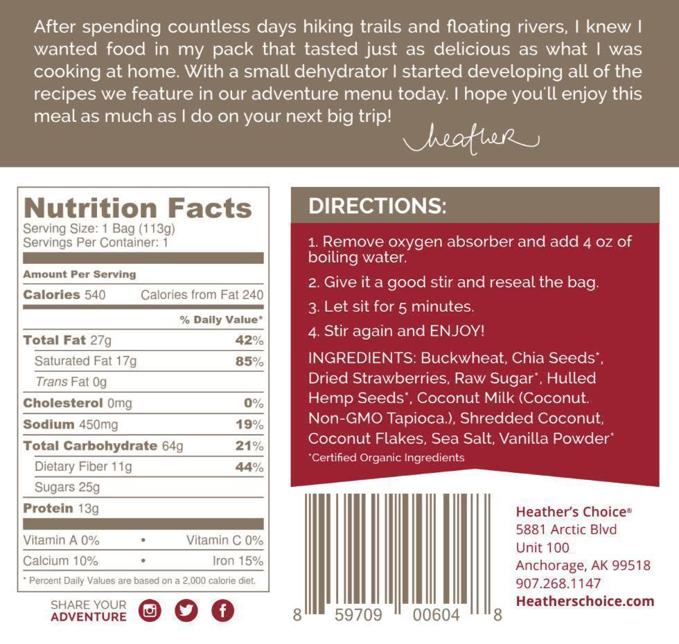 heather's choice strawberry vanilla breakfast label back