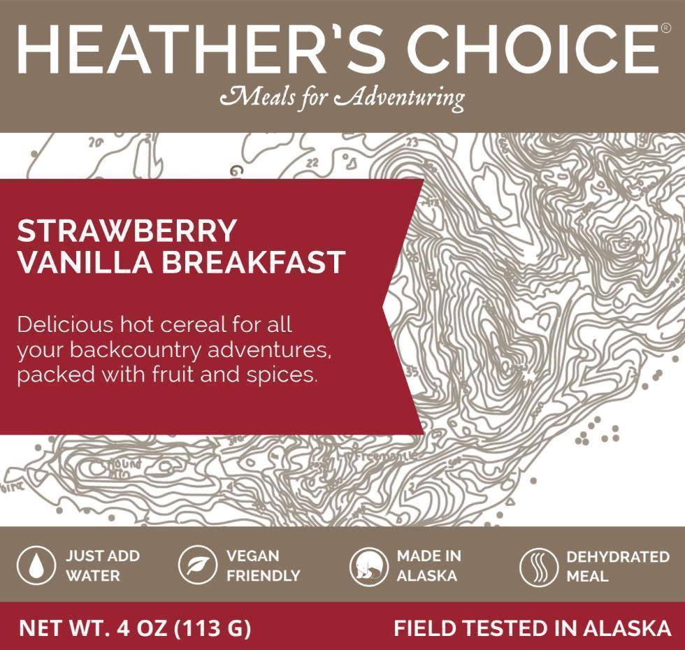 heather's choice strawberry vanilla breakfast label front