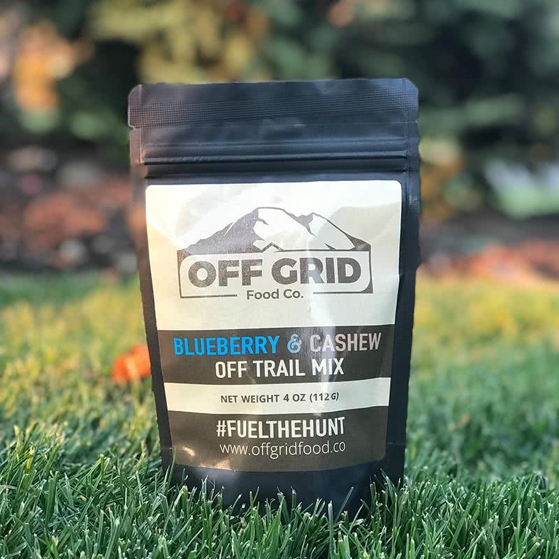 offgrid food co blueberry and cashew off trail mix front hunting