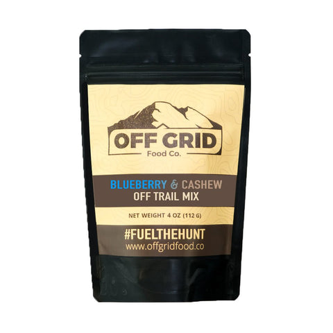 offgrid food co blueberry and cashew off trail mix front