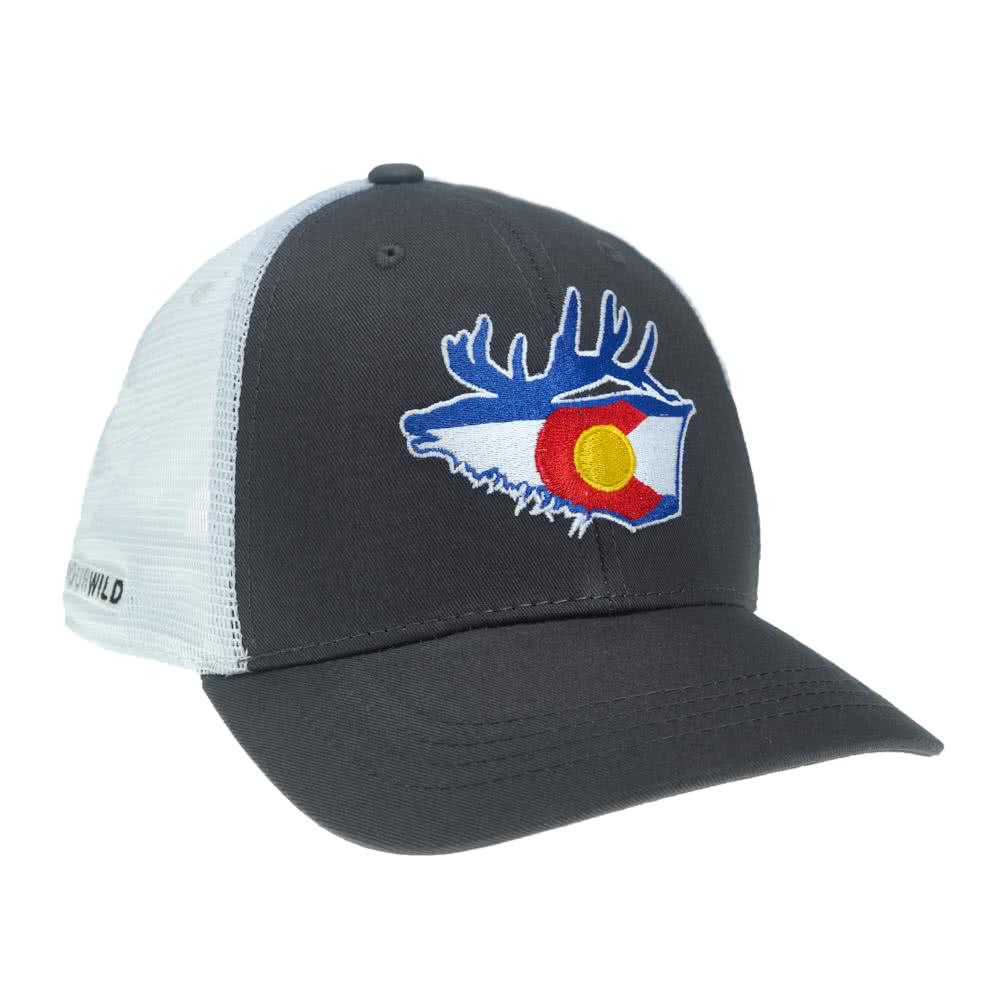 repyourwild colorado flag elk hat gray white