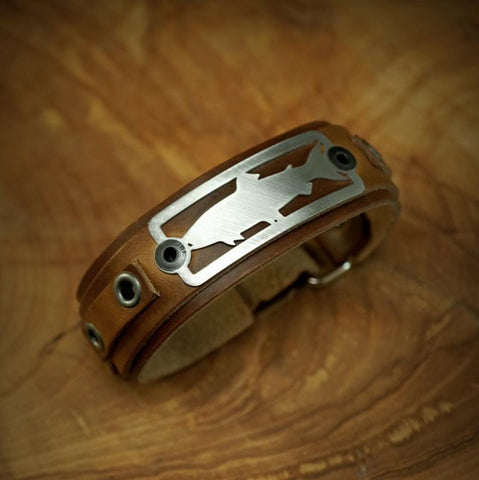 sight line provisions trout 2.0 leather bracelet horween brown