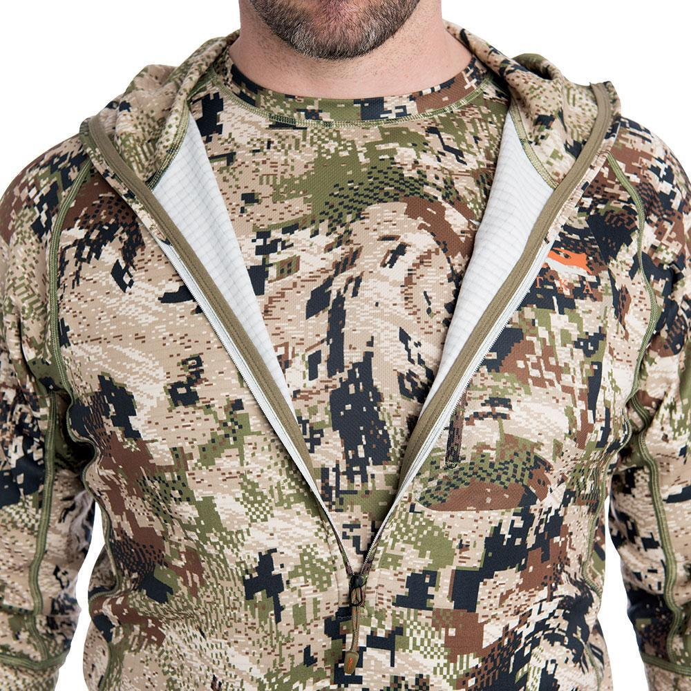 sitka core heavyweight hoody optifade subalpine mid length zipper detail