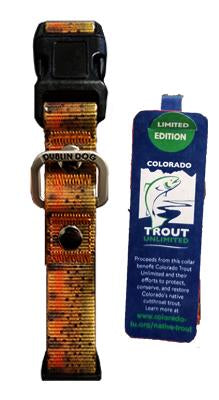 Colorado trout unlimited limited edition cutthroat trout dog collar product shot