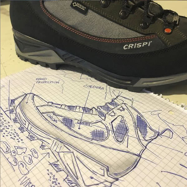 CRISPI Colorado GTX Non-Insulated Hunting Boot Design Drawing For Review