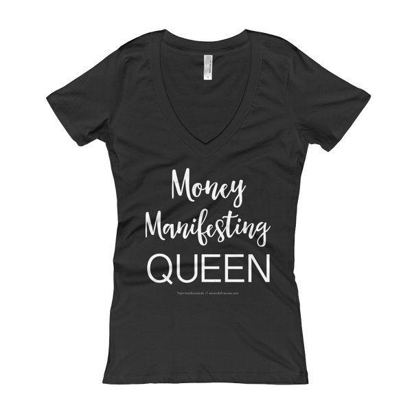Money Manifesting QUEEN — V-Neck T-shirt