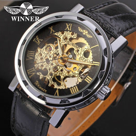 Luxury Brand Roman Number Hand-wind Leather