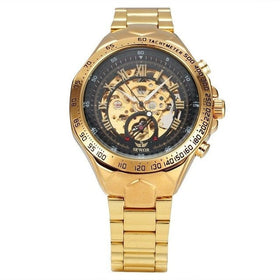 Stainless Steel Strap Skeleton Gold Edition